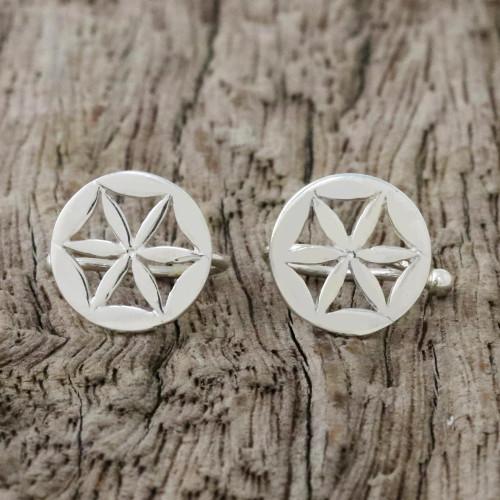 Sterling Silver Star-Shaped Circular Ear Cuffs from Thailand 'Star Petals'