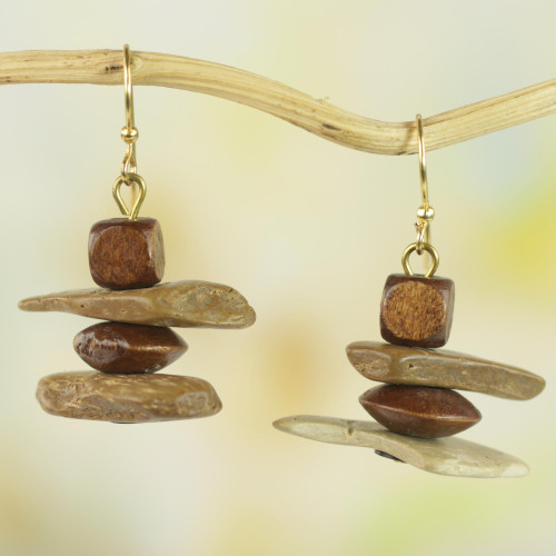 Sese Wood Coconut Shell and Plastic Earrings from Ghana 'African Monolith'