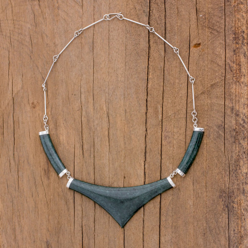 Pointed 925 Silver Jade Statement Necklace from Guatemala 'Mayan Elite'
