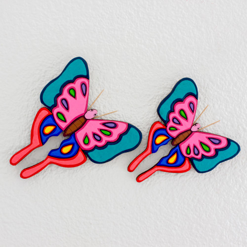 Pair of Pinewood Butterfly Wall Sculptures from El Salvador 'Beauty in the Air'