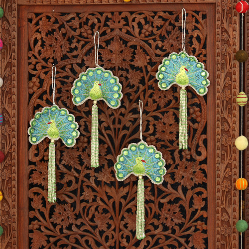 Set of Four Beaded Peacock Ornaments from India 'Glorious Peacocks'