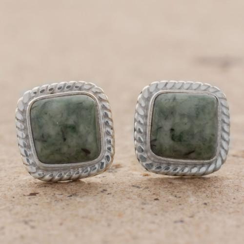 Jade and Sterling Silver Rope Motif Earrings from Guatemala 'Love Lassos in Green'