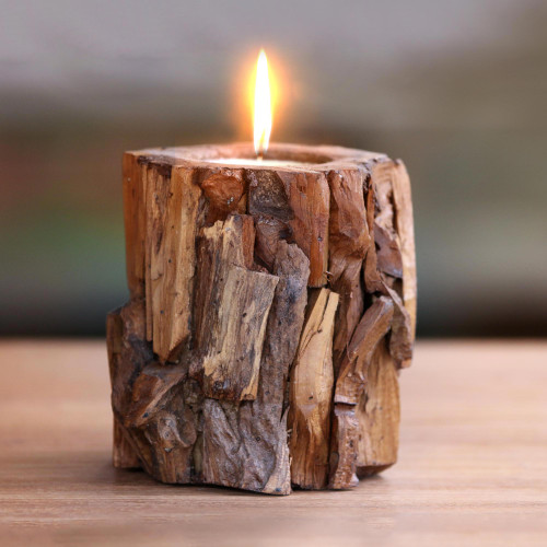 Artisan Crafted Teakwood Holder with Candle from Bali 'Earthen Flame'