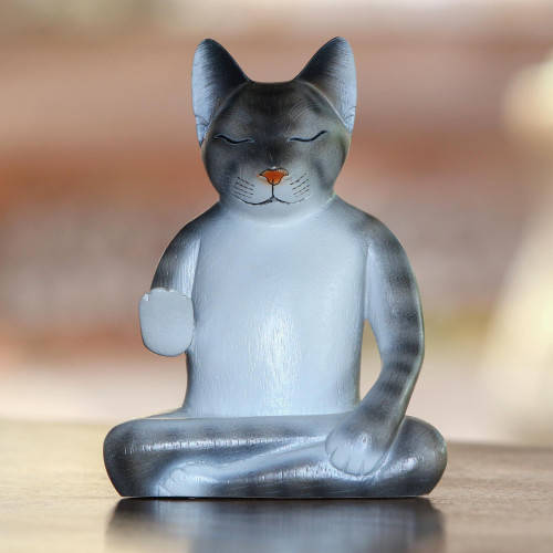 Wood Meditating Cat Sculpture in Grey and White from Bali 'Nirvana Kitty'