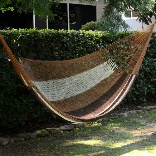 Handwoven Mayan Striped Double Hammock in Brown from Mexico 'Near the Sea'