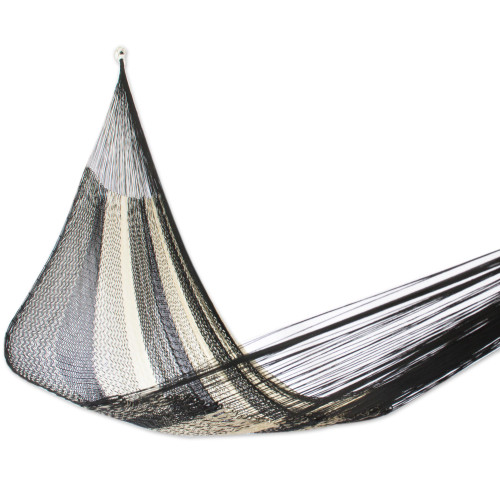 Handwoven Double Hammock in Black and Natural from Mexico 'Night Stripes'