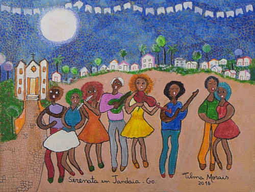 Signed Naif Painting of Musicians from Brazil 'Jandaia Serenade'