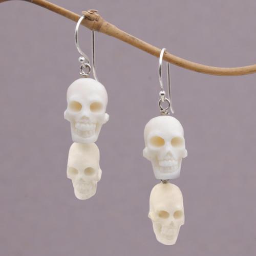 Handcrafted Bone Skull Dangle Earrings from Bali 'Trunyan Skulls'