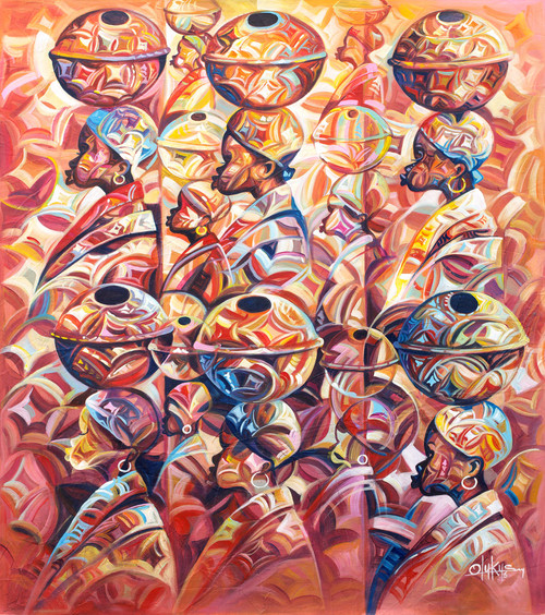 Multicolor Signed Original Ghanaian Painting 'Prosperity'