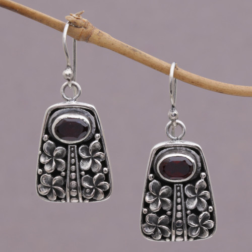 Garnet and Sterling Silver Floral Dangle Earrings from Bali 'Jepun Pura'