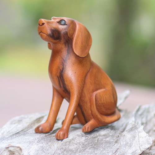 Artisan Handcrafted Suar Wood Dog Sculpture from Bali 'Loyal Dog'