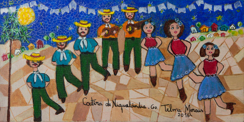 Signed Naif Painting of Traditional Dancers from Brazil 'Niquelndia Catira'