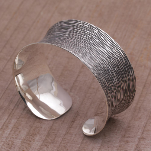 Oxidized Etched Sterling Silver Cuff Bracelet from Bali 'Dark Rain Blanket'