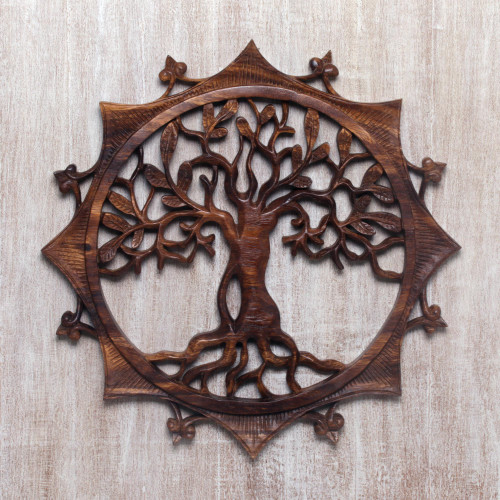 Handcrafted Circular Wood Tree Relief Panel from Bali 'Sunshine Tree'