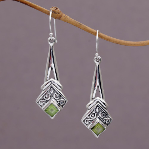 Peridot and Sterling Silver Dangle Earrings from Indonesia 'Bali Gleam'