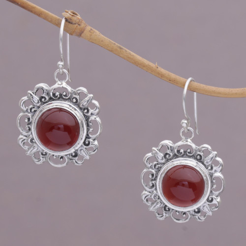 Carnelian and Sterling Silver Dangle Earrings from Indonesia 'Jewel of Bali'
