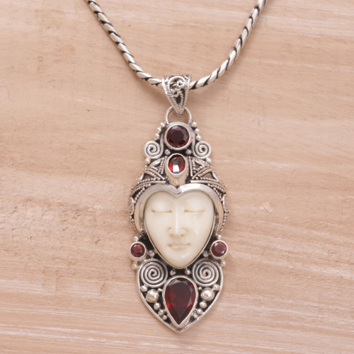 Garnet and Sterling Silver Carved Pendant Necklace form Bali 'Royal Knight'