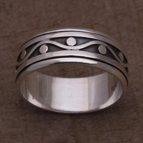925 Sterling Silver Unisex Spinner Meditation Ring from Bali 'Stream of Life'