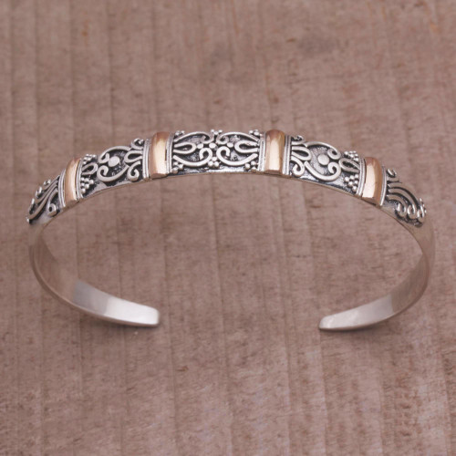 18k Gold Accent Sterling Silver Cuff Bracelet from Bali 'Merajan Mystique'