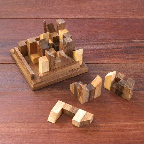 Handcrafted Wood City Puzzle from Thailand 'Happy City'