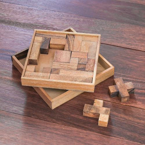 Handcrafted Square Wood Geometric Puzzle from Thailand 'Geometry Game'