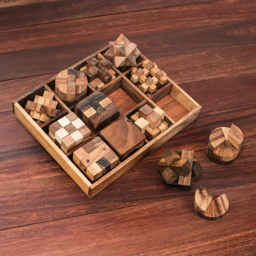 12 Handcrafted Wood Puzzles with Box from Thailand 'Array of Challenges'