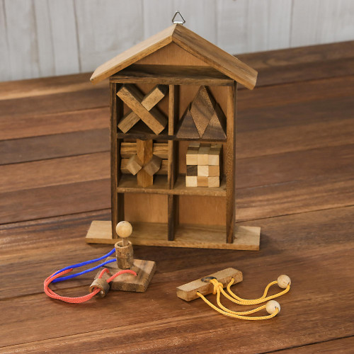 Six Rain Tree Wood Puzzles with Box from Thailand 'Household Challenge'