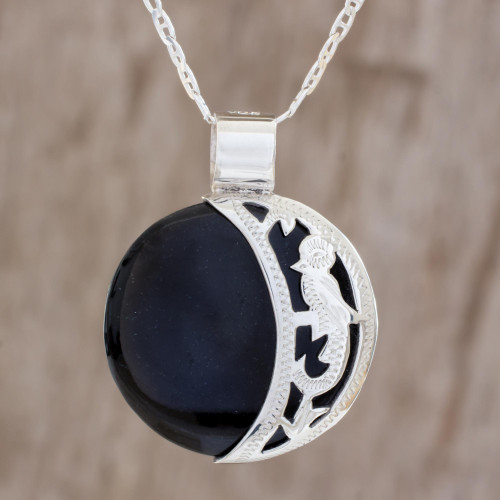 Reversible Jade Crescent Pendant Necklace Guatemala 'Partial Eclipse'
