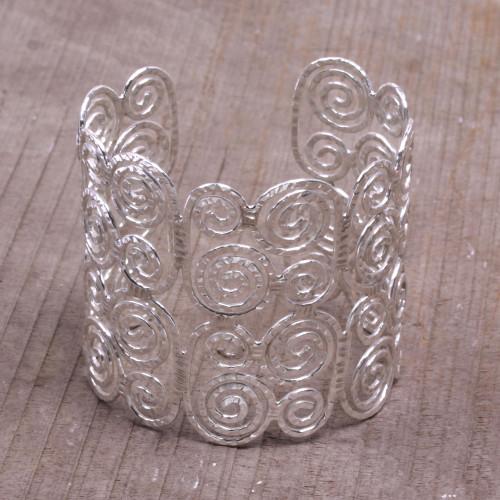 Spiral Motif Sterling Silver Cuff Bracelet from Bali 'Swirling Lattice'