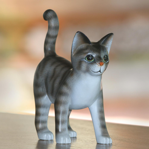 Standing Wood Cat Sculpture in Grey and White from Bali 'Curious Kitten'