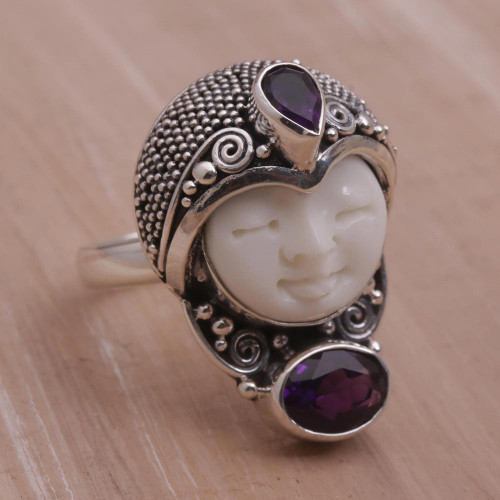 Amethyst and 925 Silver Face Shaped Ring from Bali 'Moonlight Prince'