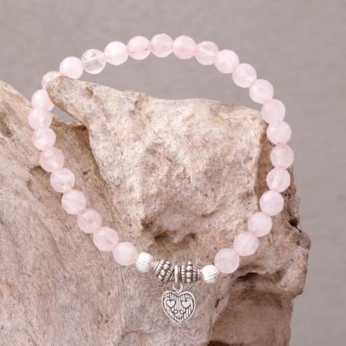 Rose Quartz 925 Silver Heart Charm Bracelet from Bali 'Sentimental Charm'