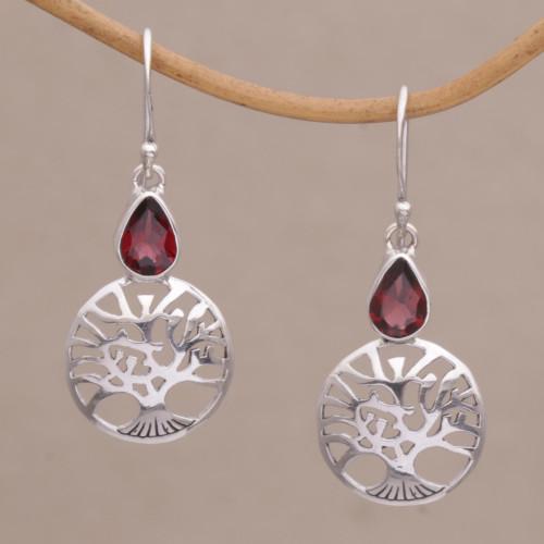 Handmade Sterling Silver Peach Tree Earrings with Garnet 'Peach Tree'