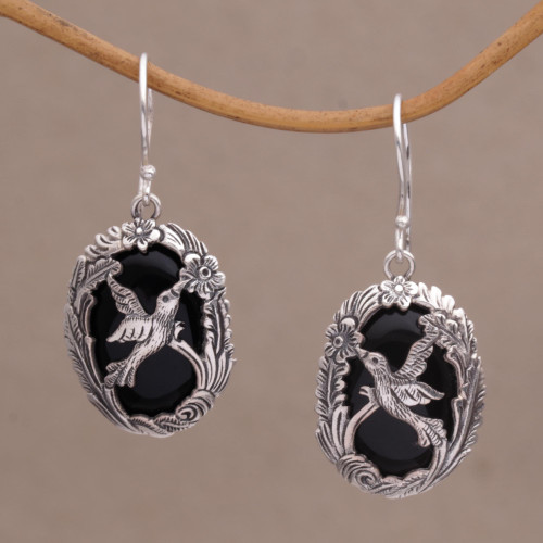 Onyx and 925 Silver Bird-Themed Dangle Earrings from Bali 'Nature's Freedom'