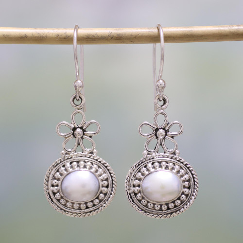 Cultured Pearl and Sterling Silver Dangle Earrings 'Pure Grace'