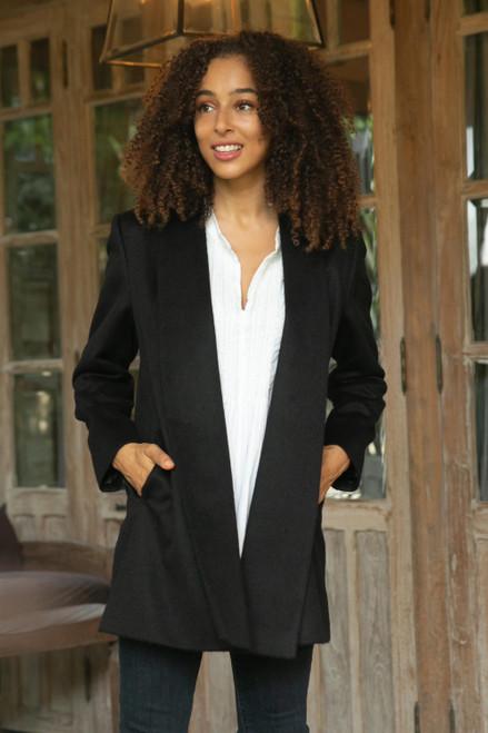 Peruvian Alpaca Wool Blend Open Front Coat in Black 'Elegance in Black'