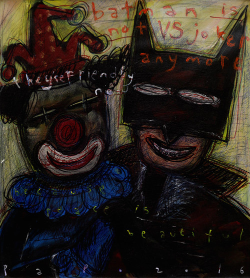 Signed Batman and Joker Modern Painting from Bali 'Bat Man is not VS...'