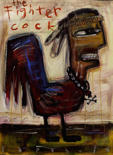 Signed Modern Painting of a Rooster Man from Bali 'The Fighter Cock'