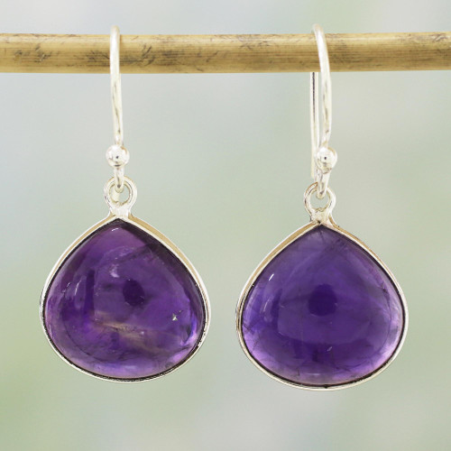 Amethyst and Sterling Silver Dangle Earrings from India 'Dancing Soul'
