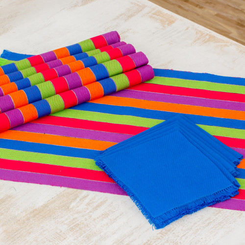 Six Multicolored Striped Cotton Placemats and Napkins 'Harvest Trails'