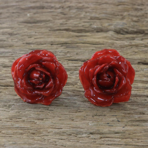 Natural Rose Button Earrings in Red from Thailand 'Flowering Passion in Red'