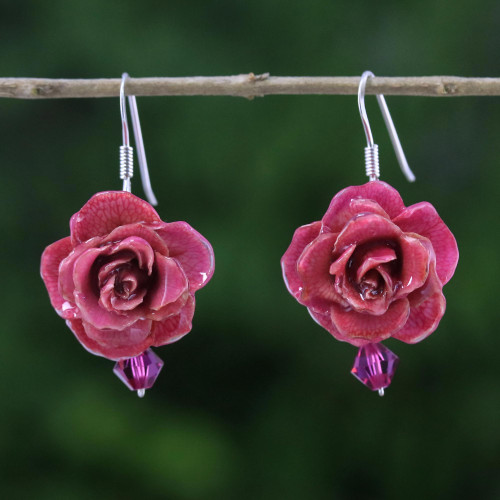 Natural Rose Dangle Earrings in Cerise from Thailand 'Floral Temptation in Cerise'