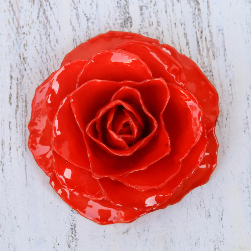 Artisan Crafted Natural Rose Brooch in Red from Thailand 'Rosy Mood in Red'