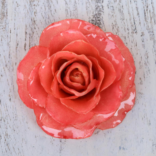 Artisan Crafted Natural Rose Brooch in Pink from Thailand 'Rosy Mood in Pink'