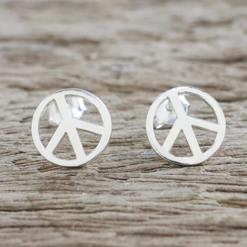 Handcrafted Sterling Silver Stud Earrings with Peace Sign 'Sign of Peace'