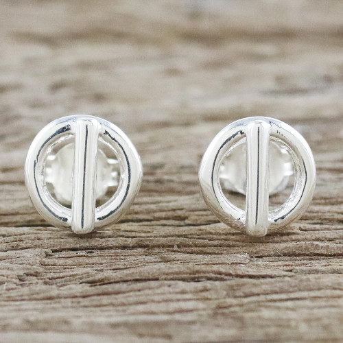 Handcrafted Sterling Silver Stud Earrings from Thailand 'Silver Toggles'