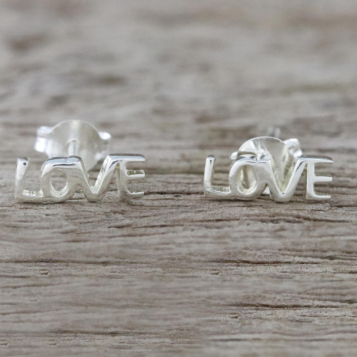 Handcrafted Sterling Silver Love Stud Earrings from Thailand 'Silver Love'