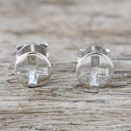 Handcrafted Sterling Silver Stud Earrings from Thailand 'Silver Screws'