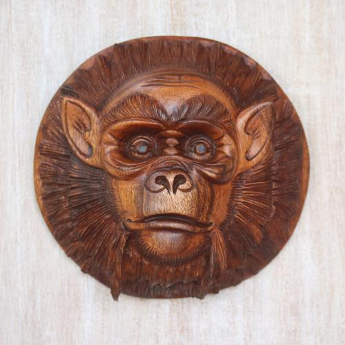 Handcrafted Suar Wood Chimpanzee Mask from Bali 'Alpha Chimpanzee'