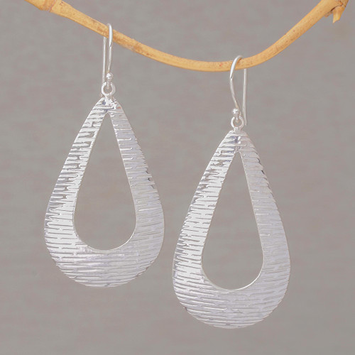 Handcrafted Sterling Silver Drop Shaped Dangle Earrings 'Silver Gleam'